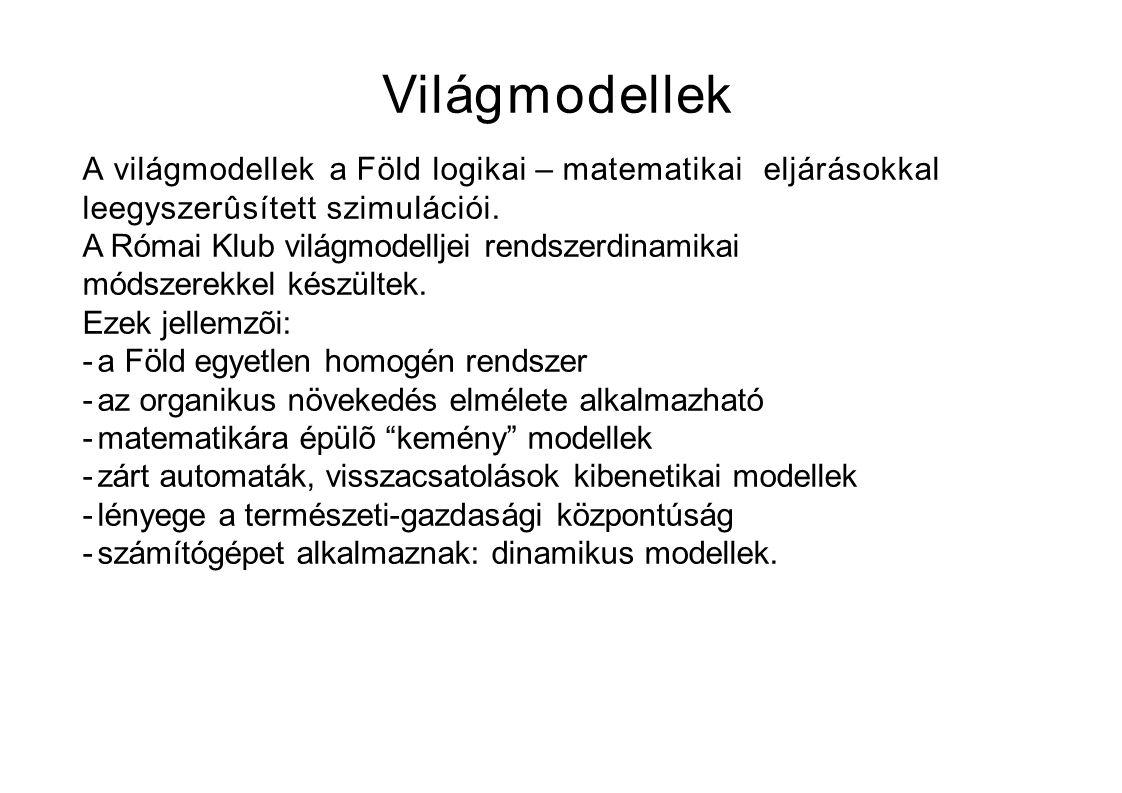 Világmodellek A világmodellek a Föld logikai – matematikai eljárásokkal leegyszerûsített szimulációi.