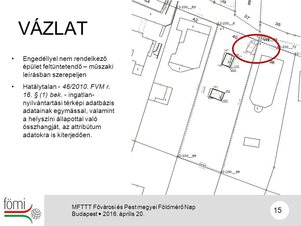 VÁZLAT Engedéllyel nem rendelkező épület feltüntetendő – műszaki leírásban szerepeljen Hatálytalan - 46/2010. FVM r. 16. § (1) bek. - ingatlan- nyilvá