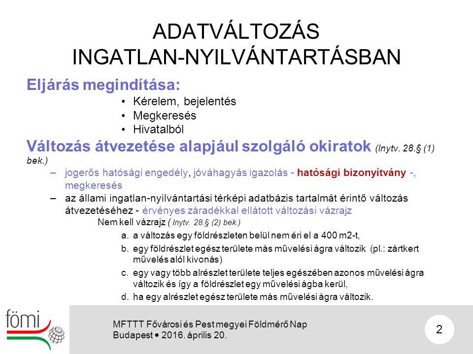 ADATVÁLTOZÁS INGATLAN-NYILVÁNTARTÁSBAN Eljárás megindítása: Kérelem, bejelentés Megkeresés Hivatalból Változás átvezetése alapjául szolgáló okiratok (