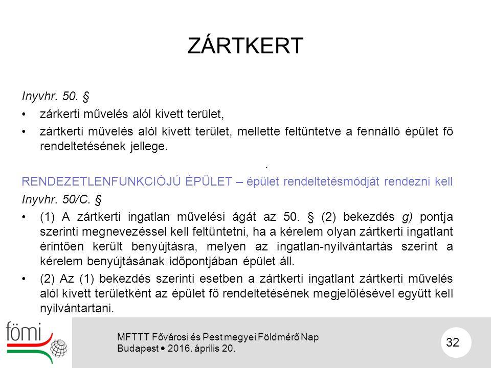 ZÁRTKERT Inyvhr. 50. § zárkerti művelés alól kivett terület, zártkerti művelés alól kivett terület, mellette feltüntetve a fennálló épület fő rendelte