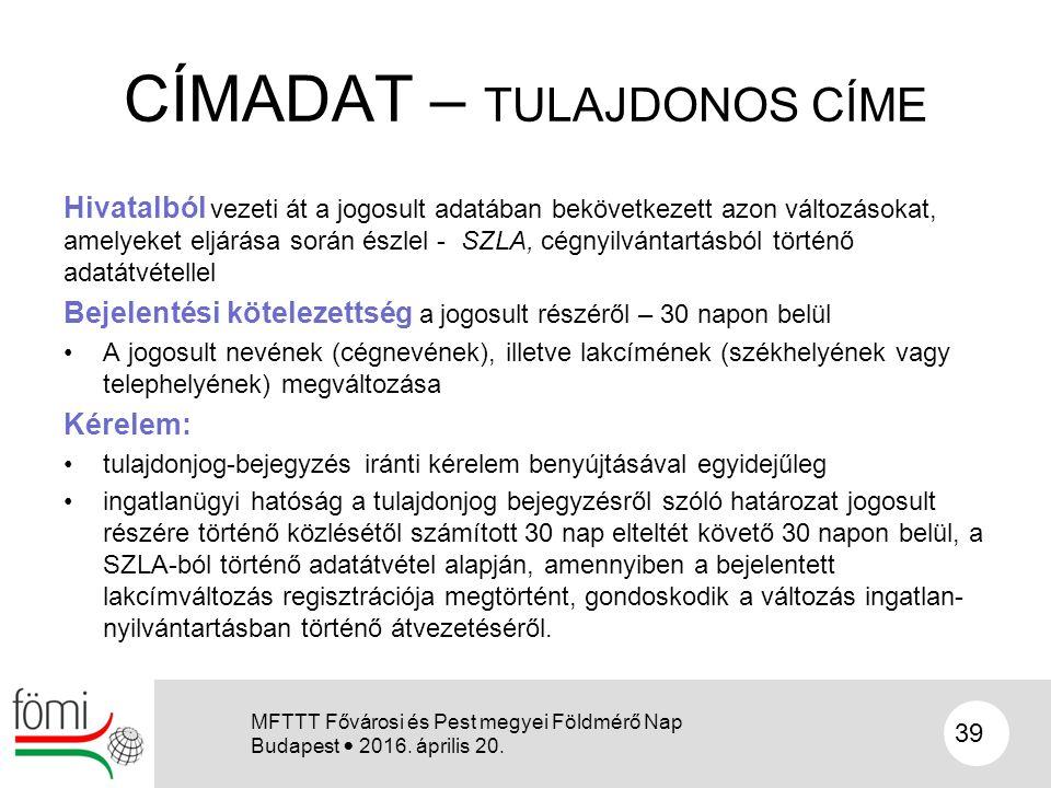 CÍMADAT – TULAJDONOS CÍME Hivatalból vezeti át a jogosult adatában bekövetkezett azon változásokat, amelyeket eljárása során észlel - SZLA, cégnyilván