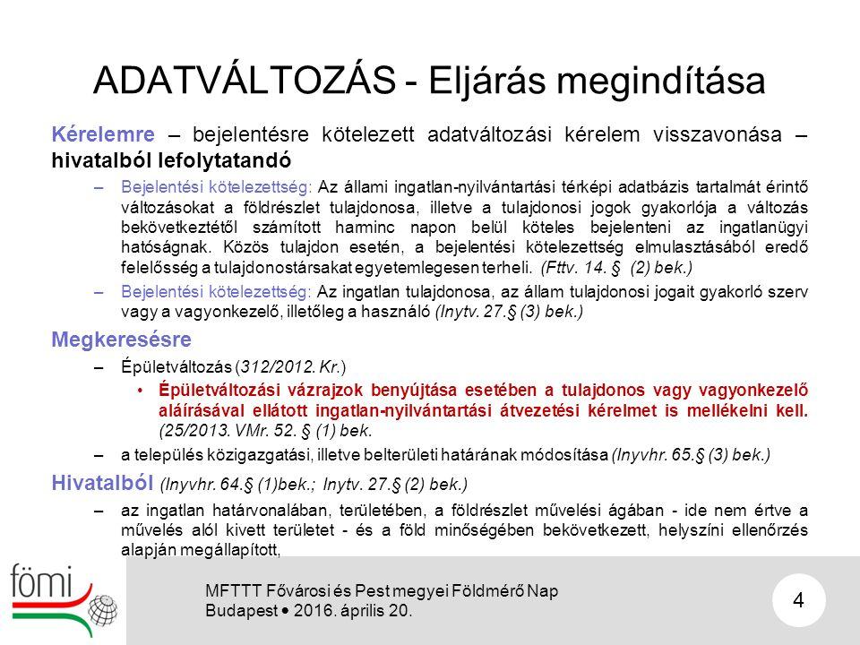 ADATVÁLTOZÁS - Eljárás megindítása Kérelemre – bejelentésre kötelezett adatváltozási kérelem visszavonása – hivatalból lefolytatandó –Bejelentési köte