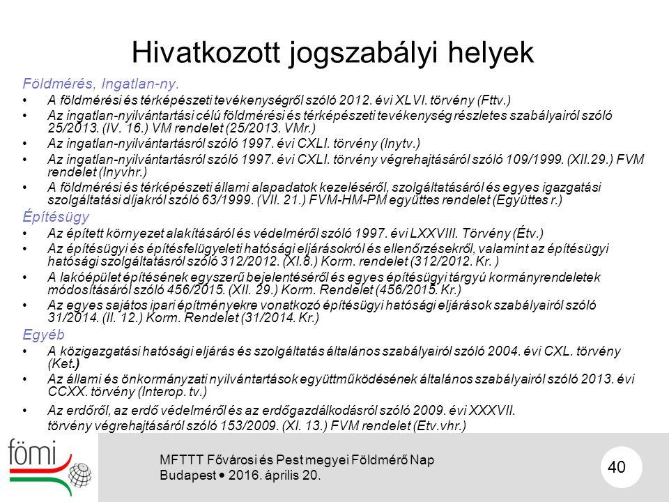 Hivatkozott jogszabályi helyek Földmérés, Ingatlan-ny. A földmérési és térképészeti tevékenységről szóló 2012. évi XLVI. törvény (Fttv.) Az ingatlan-n