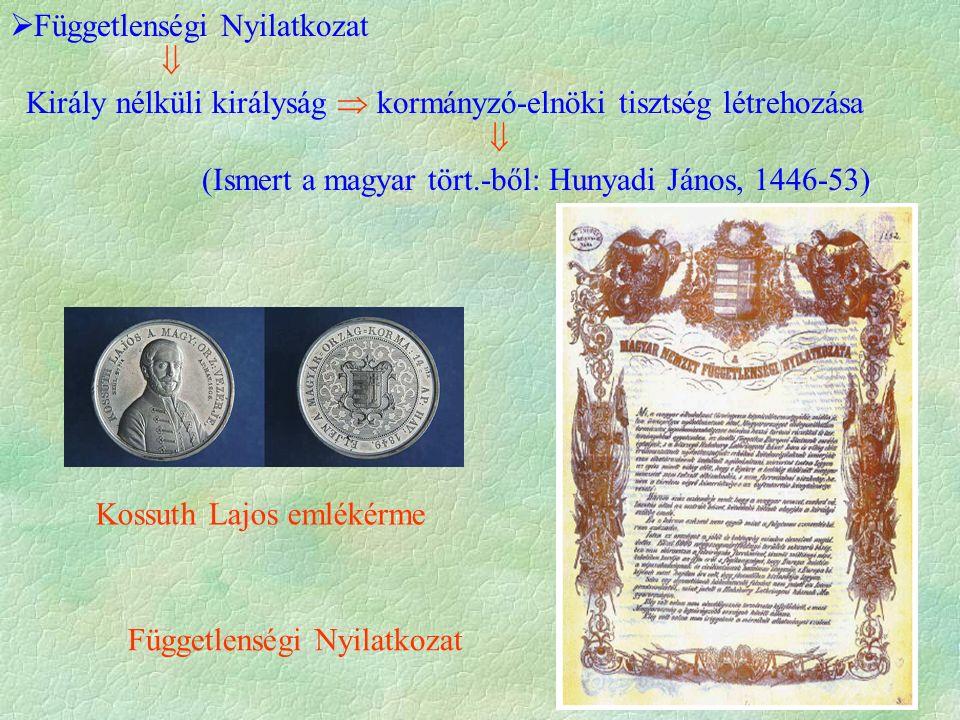 Kossuth Lajos emlékérme Függetlenségi Nyilatkozat  Függetlenségi Nyilatkozat  Király nélküli királyság  kormányzó-elnöki tisztség létrehozása  (Ismert a magyar tört.-ből: Hunyadi János, 1446-53)