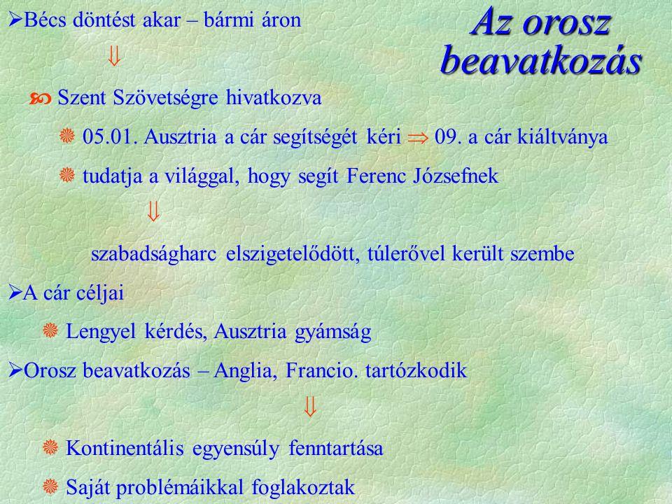 Az orosz beavatkozás  Bécs döntést akar – bármi áron   Szent Szövetségre hivatkozva  05.01. Ausztria a cár segítségét kéri  09. a cár kiáltványa