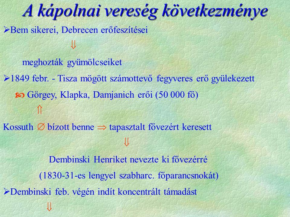  Bem sikerei, Debrecen erőfeszítései  meghozták gyümölcseiket  1849 febr. - Tisza mögött számottevő fegyveres erő gyülekezett  Görgey, Klapka, Dam