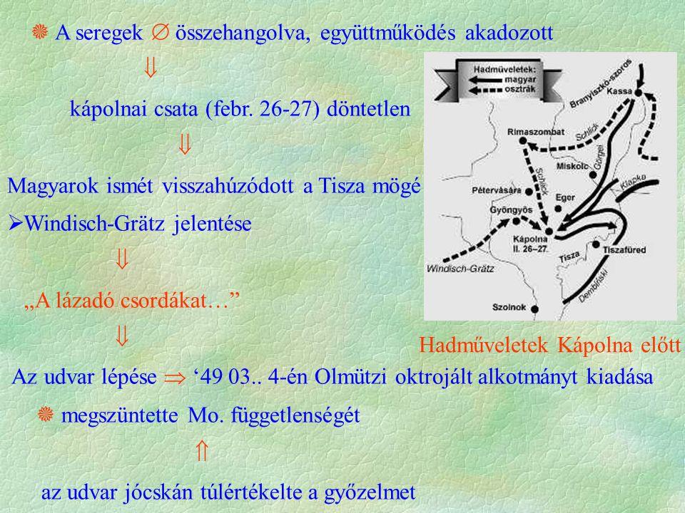  A seregek  összehangolva, együttműködés akadozott  kápolnai csata (febr. 26-27) döntetlen  Magyarok ismét visszahúzódott a Tisza mögé  Windisch-