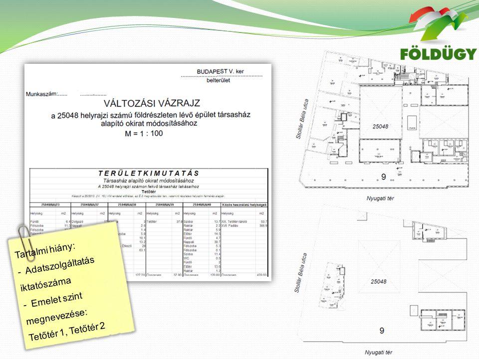 Tartalmi hiány: - Adatszolgáltatás iktatószáma - Emelet szint megnevezése: Tetőtér 1, Tetőtér 2
