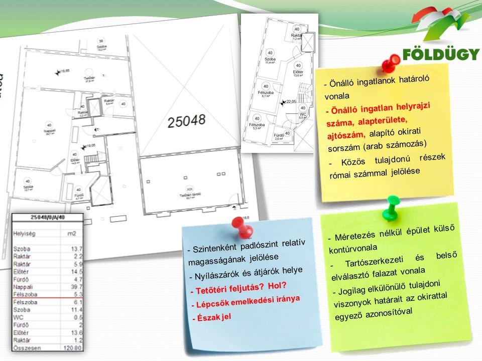 - Önálló ingatlanok határoló vonala - Önálló ingatlan helyrajzi száma, alapterülete, ajtószám, alapító okirati sorszám (arab számozás) - Közös tulajdonú részek római számmal jelölése - Szintenként padlószint relatív magasságának jelölése - Nyílászárók és átjárók helye - Tetőtéri feljutás.