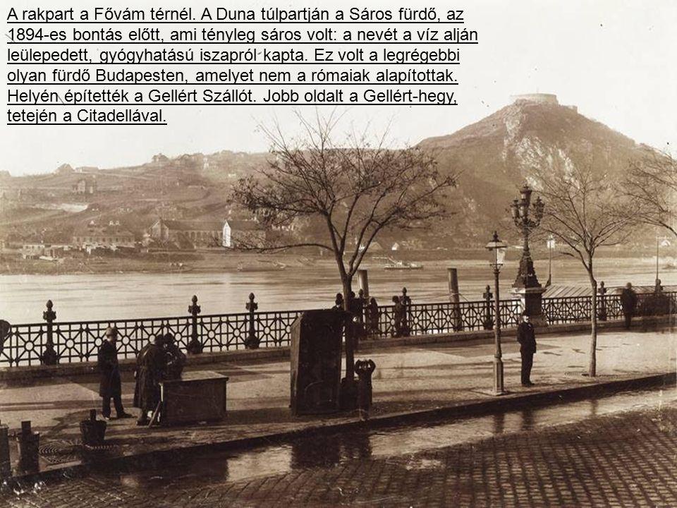 Piac a pesti alsó rakparton, a Petőfi téri hajóállomásnál, 1896-ban, az első újkori olimpia évében.