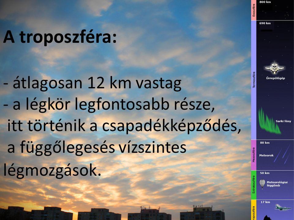 A troposzféra: - átlagosan 12 km vastag - a légkör legfontosabb része, itt történik a csapadékképződés, a függőlegesés vízszintes légmozgások.