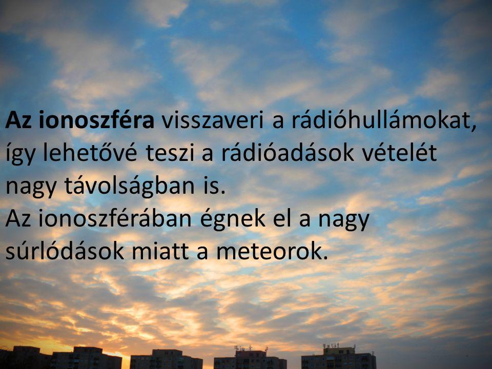 Az ionoszféra visszaveri a rádióhullámokat, így lehetővé teszi a rádióadások vételét nagy távolságban is.