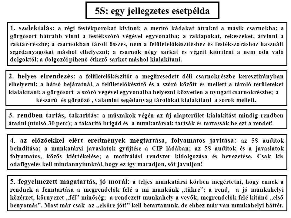 5S: egy jellegzetes esetpélda 1. szelektálás: a régi festékporokat kivinni; a merítő kádakat átrakni a másik csarnokba; a görgősort hátrább vinni a fe