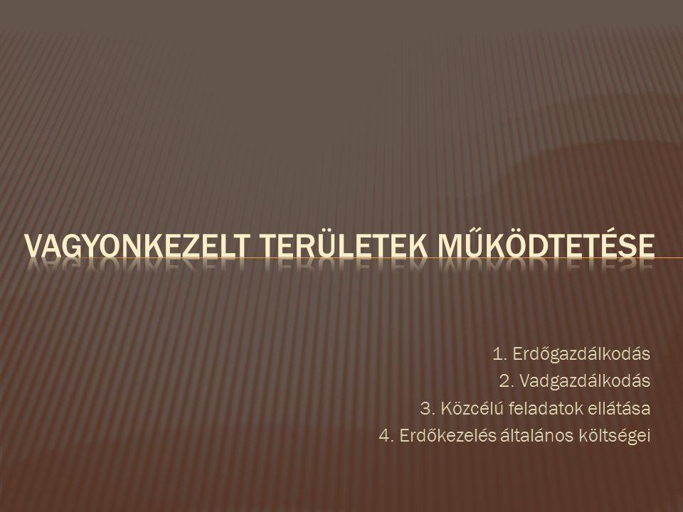 1. Erdőgazdálkodás 2. Vadgazdálkodás 3. Közcélú feladatok ellátása 4.
