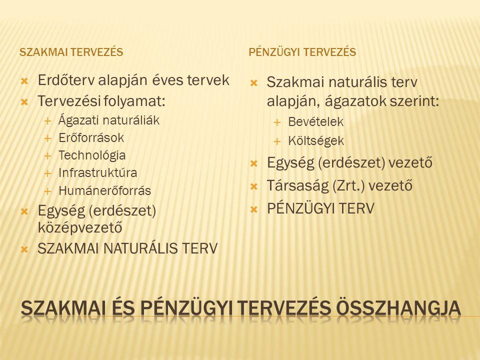 SZAKMAI TERVEZÉSPÉNZÜGYI TERVEZÉS  Erdőterv alapján éves tervek  Tervezési folyamat:  Ágazati naturáliák  Erőforrások  Technológia  Infrastruktúra  Humánerőforrás  Egység (erdészet) középvezető  SZAKMAI NATURÁLIS TERV  Szakmai naturális terv alapján, ágazatok szerint:  Bevételek  Költségek  Egység (erdészet) vezető  Társaság (Zrt.) vezető  PÉNZÜGYI TERV