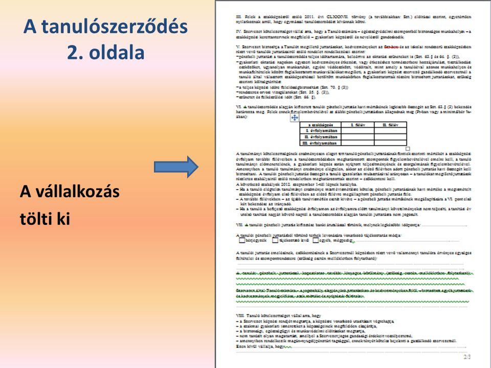 A tanulószerződés 2. oldala A vállalkozás tölti ki