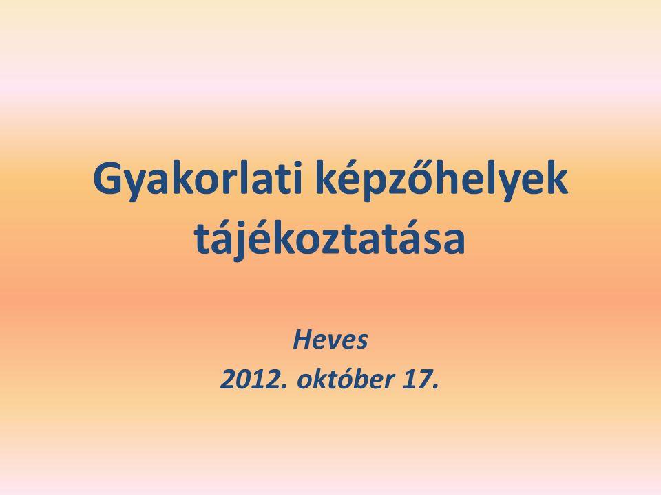 Gyakorlati képzőhelyek tájékoztatása Heves 2012. október 17.