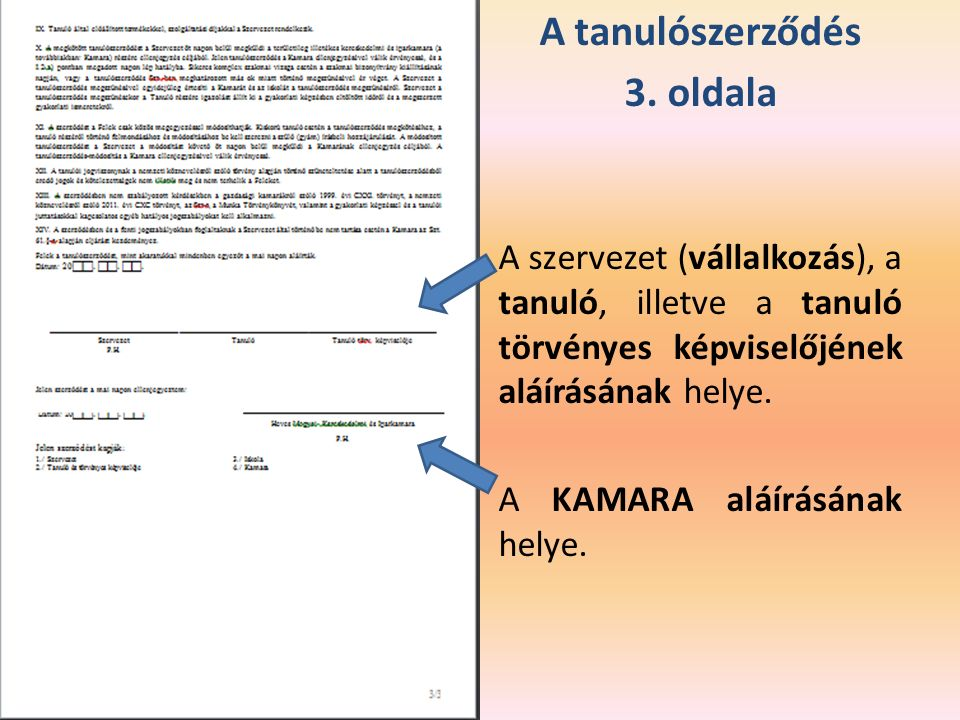 A tanulószerződés 3.