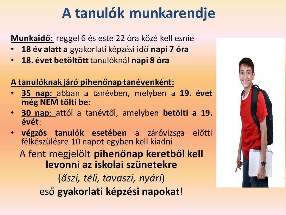A tanulók munkarendje Munkaidő: reggel 6 és este 22 óra közé kell esnie 18 év alatt a gyakorlati képzési idő napi 7 óra 18.