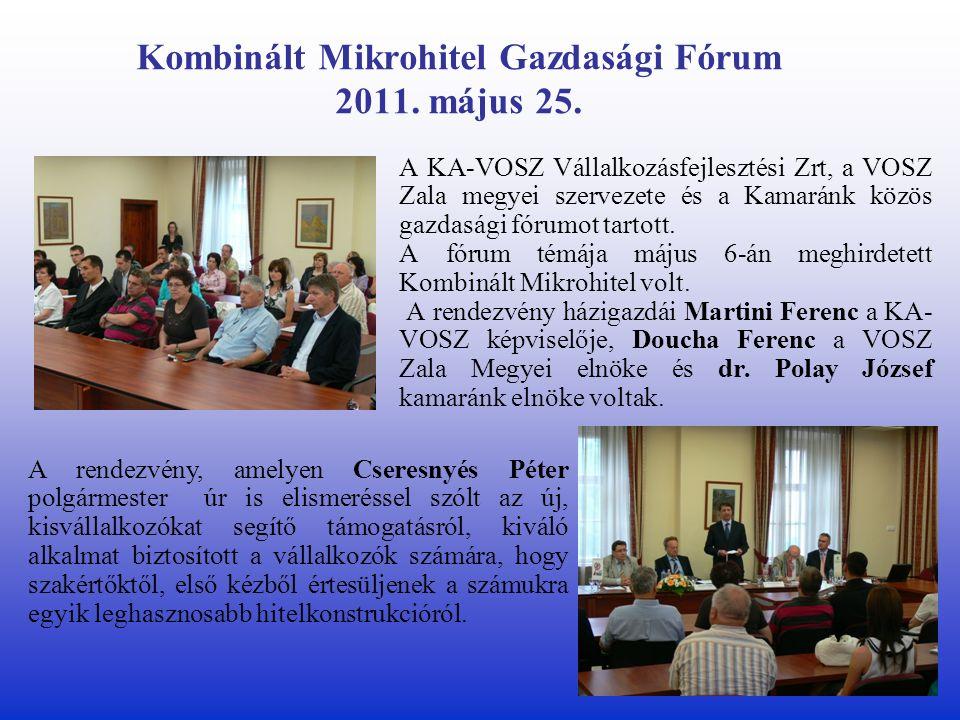 Kombinált Mikrohitel Gazdasági Fórum 2011. május 25.