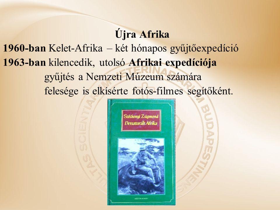 Újra Afrika 1960-ban Kelet-Afrika – két hónapos gyűjtőexpedíció 1963-ban kilencedik, utolsó Afrikai expedíciója gyűjtés a Nemzeti Múzeum számára felesége is elkísérte fotós-filmes segítőként.