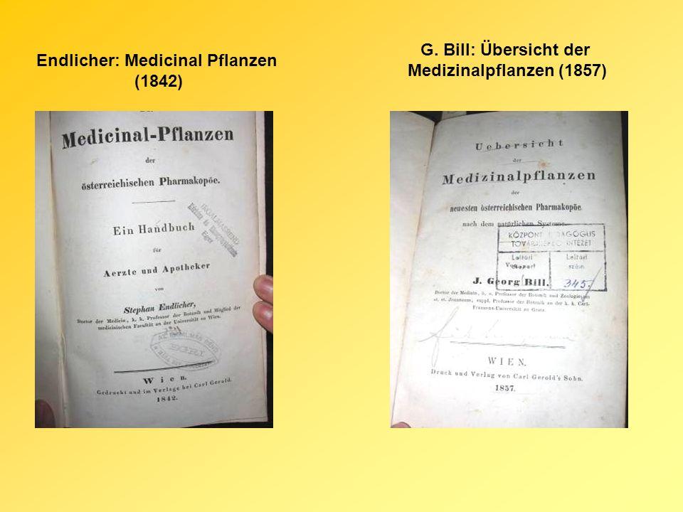 Endlicher: Medicinal Pflanzen (1842) G. Bill: Übersicht der Medizinalpflanzen (1857)