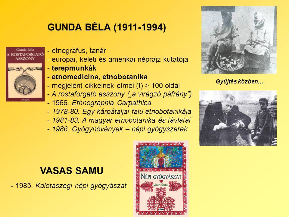 """GUNDA BÉLA (1911-1994) - etnográfus, tanár - európai, keleti és amerikai néprajz kutatója - terepmunkák - etnomedicina, etnobotanika - megjelent cikkeinek címei (!) > 100 oldal - A rostaforgató asszony (""""a virágzó páfrány ) - 1966."""
