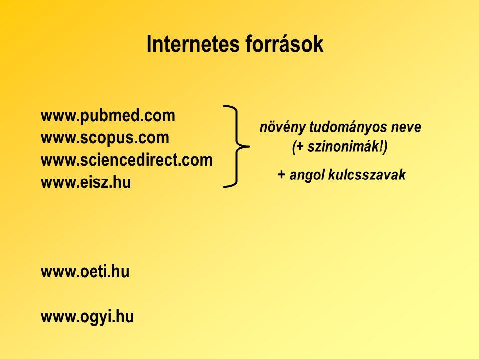 Internetes források www.pubmed.com www.scopus.com www.sciencedirect.com www.eisz.hu www.oeti.hu www.ogyi.hu növény tudományos neve ( + szinonimák!) + angol kulcsszavak