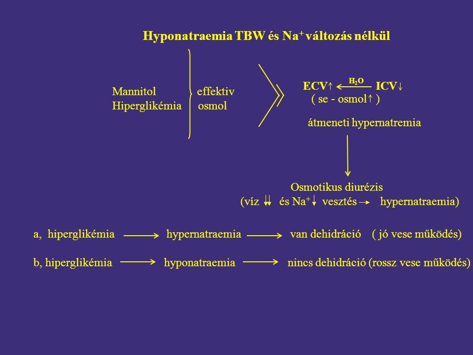 Hyponatraemia TBW és Na + változás nélkül a, hiperglikémia hypernatraemia van dehidráció ( jó vese működés) b, hiperglikémia hyponatraemia nincs dehidráció (rossz vese működés) Mannitol effektiv Hiperglikémia osmol ( se - osmol ) ECV ICV H2OH2O Osmotikus diurézis (víz és Na + vesztés hypernatraemia) átmeneti hypernatremia