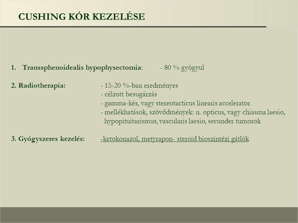 CUSHING KÓR KEZELÉSE 1.Transsphenoidealis hypophysectomia:- 80 % gyógyul 2.