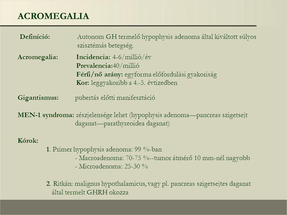ACROMEGALIA Definíció: Autonom GH termelő hypophysis adenoma által kiváltott súlyos szisztémás betegség. Incidencia: 4-6/millió/év Prevalencia:40/mill
