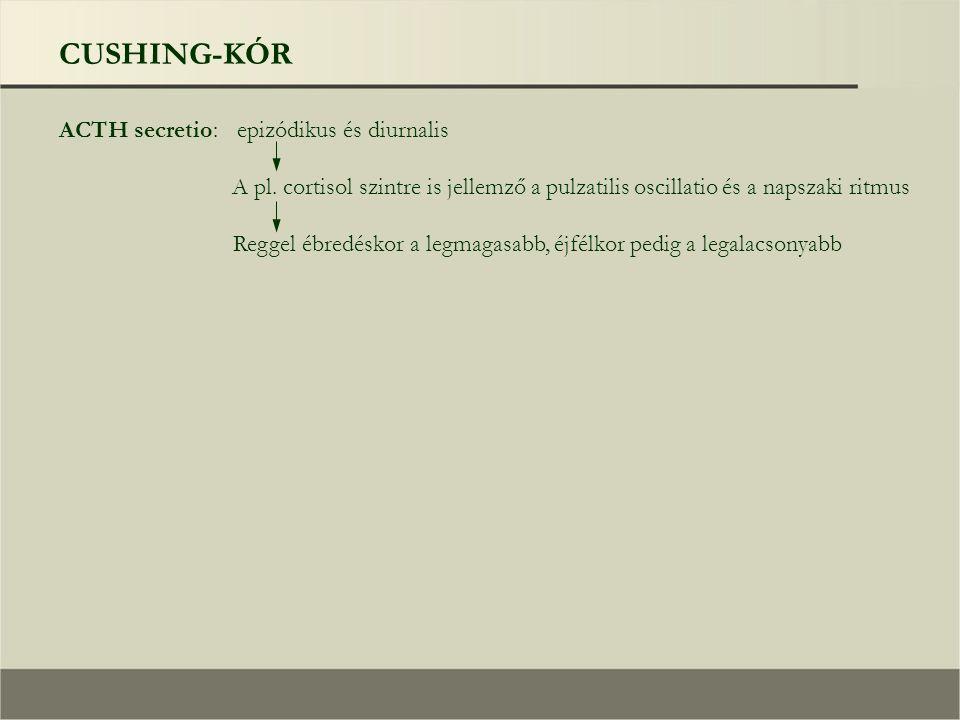 CUSHING-KÓR ACTH secretio: epizódikus és diurnalis A pl.