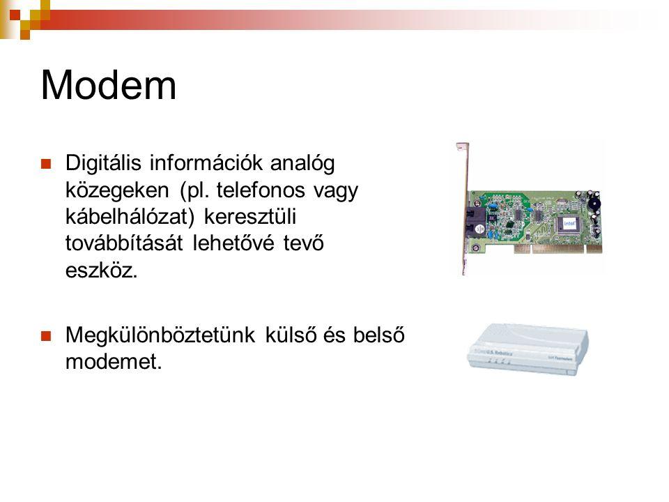 Modem Digitális információk analóg közegeken (pl.
