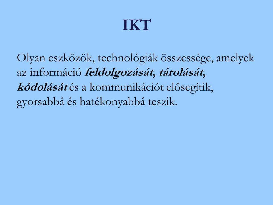 IKT Olyan eszközök, technológiák összessége, amelyek az információ feldolgozását, tárolását, kódolását és a kommunikációt elősegítik, gyorsabbá és hatékonyabbá teszik.