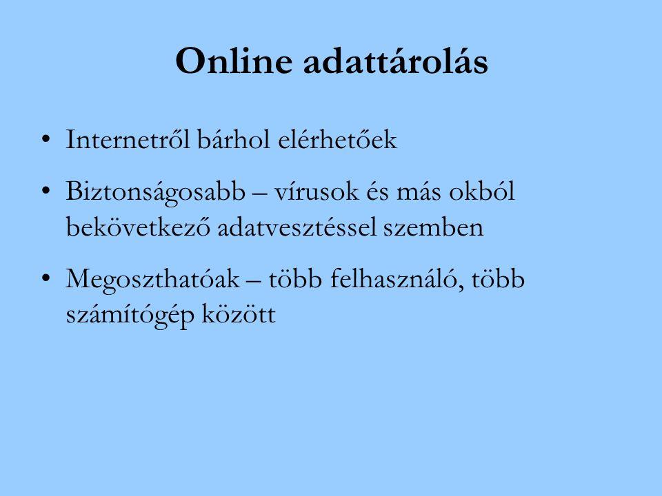 Online adattárolás Internetről bárhol elérhetőek Biztonságosabb – vírusok és más okból bekövetkező adatvesztéssel szemben Megoszthatóak – több felhasználó, több számítógép között
