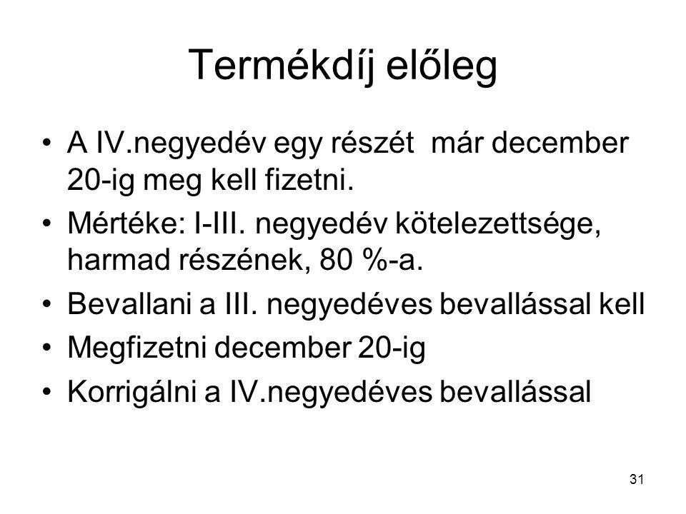 31 Termékdíj előleg A IV.negyedév egy részét már december 20-ig meg kell fizetni.