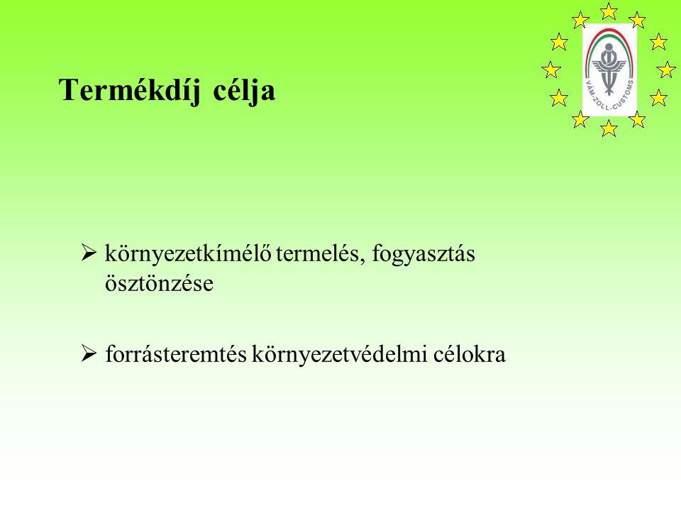 Termékdíj célja  környezetkímélő termelés, fogyasztás ösztönzése  forrásteremtés környezetvédelmi célokra