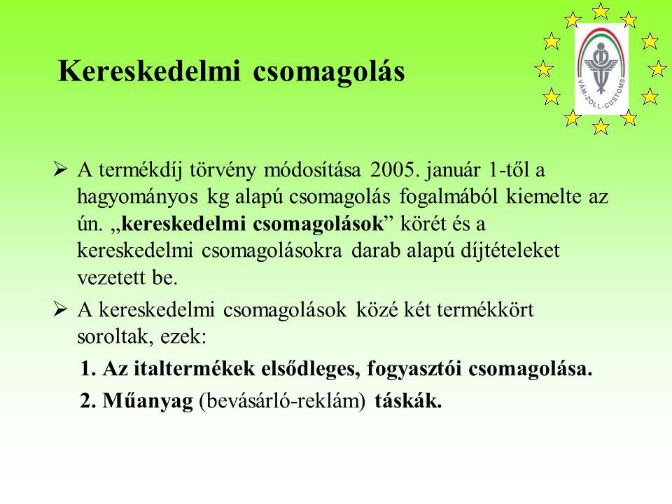 Kereskedelmi csomagolás  A termékdíj törvény módosítása 2005.