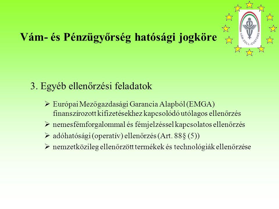 Vám- és Pénzügyőrség hatósági jogköre 3.