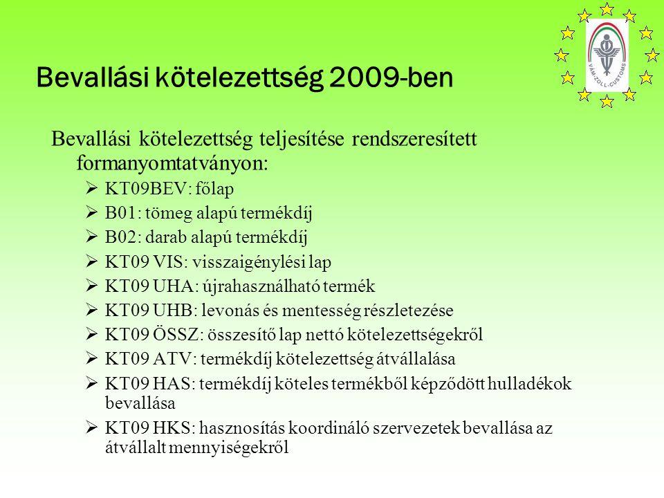 Bevallási kötelezettség 2009-ben Bevallási kötelezettség teljesítése rendszeresített formanyomtatványon:  KT09BEV: főlap  B01: tömeg alapú termékdíj  B02: darab alapú termékdíj  KT09 VIS: visszaigénylési lap  KT09 UHA: újrahasználható termék  KT09 UHB: levonás és mentesség részletezése  KT09 ÖSSZ: összesítő lap nettó kötelezettségekről  KT09 ATV: termékdíj kötelezettség átvállalása  KT09 HAS: termékdíj köteles termékből képződött hulladékok bevallása  KT09 HKS: hasznosítás koordináló szervezetek bevallása az átvállalt mennyiségekről