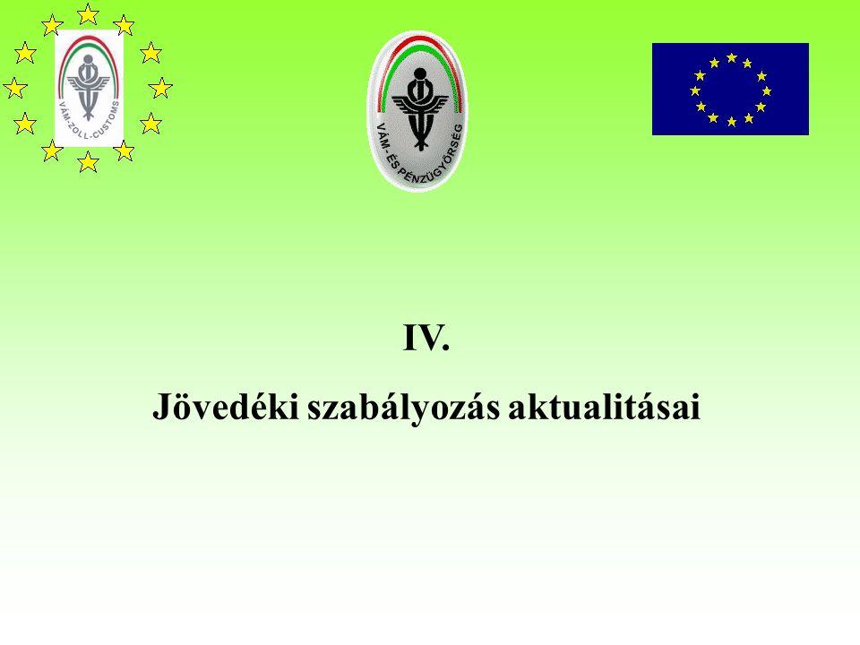 IV. Jövedéki szabályozás aktualitásai