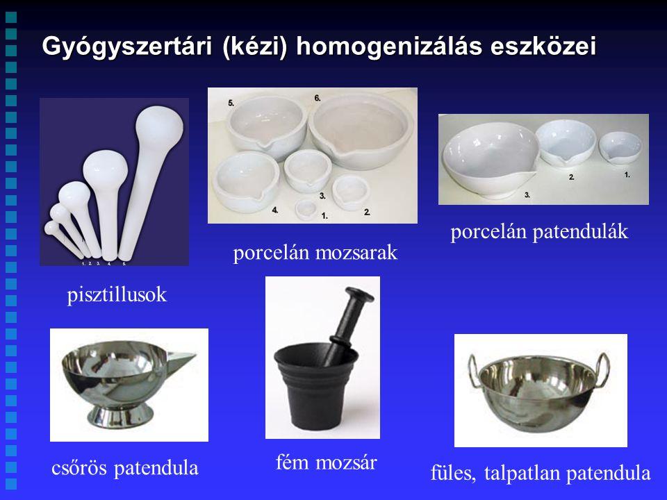 Gyógyszertári (kézi) homogenizálás eszközei pisztillusok porcelán mozsarak porcelán patendulák csőrös patendula füles, talpatlan patendula fém mozsár