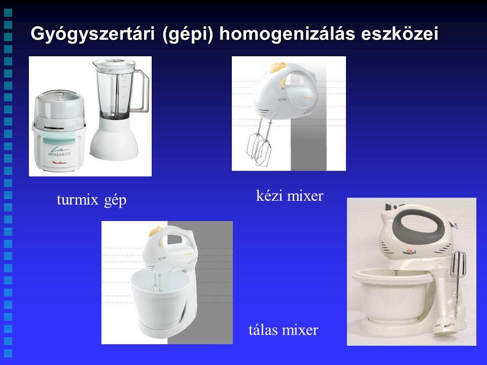 Gyógyszertári (gépi) homogenizálás eszközei turmix gép kézi mixer tálas mixer