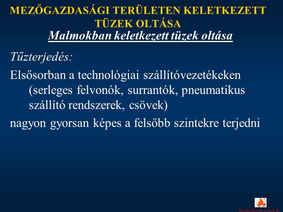 BajaTűz 2003 Okt. és Szolg. Bt. MEZŐGAZDASÁGI TERÜLETEN KELETKEZETT TÜZEK OLTÁSA Tűzterjedés: Elsősorban a technológiai szállítóvezetékeken (serleges