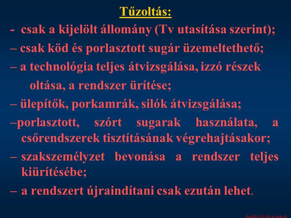 BajaTűz 2003 Okt. és Szolg. Bt. Tűzoltás: - csak a kijelölt állomány (Tv utasítása szerint); – csak köd és porlasztott sugár üzemeltethető; – a techno