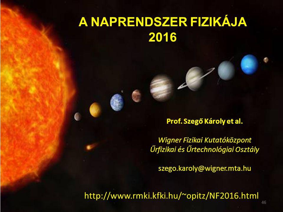 A NAPRENDSZER FIZIKÁJA 2016 Prof. Szegő Károly et al.