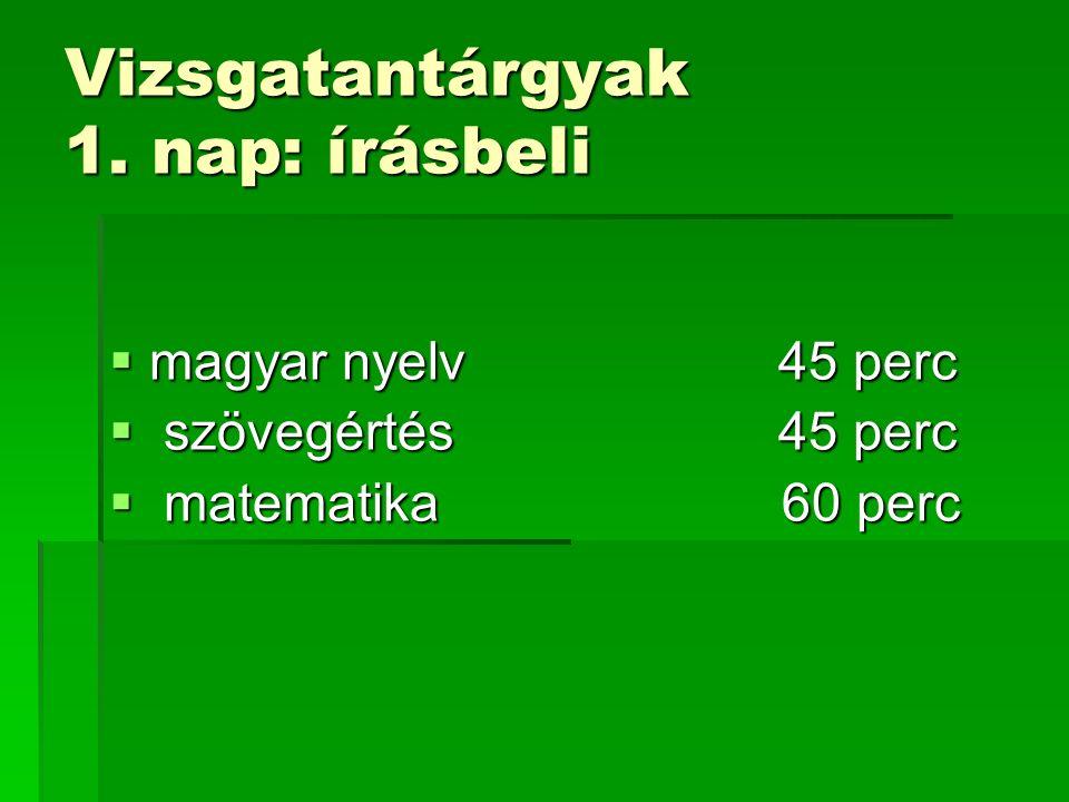 Vizsgatantárgyak 1. nap: írásbeli  magyar nyelv 45 perc  szövegértés 45 perc  matematika 60 perc