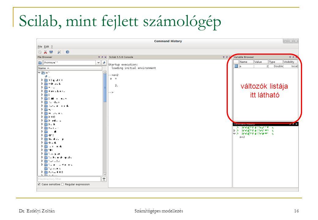Scilab, mint fejlett számológép Dr. Erdélyi Zoltán Számítógépes modellezés 16 változók listája itt látható