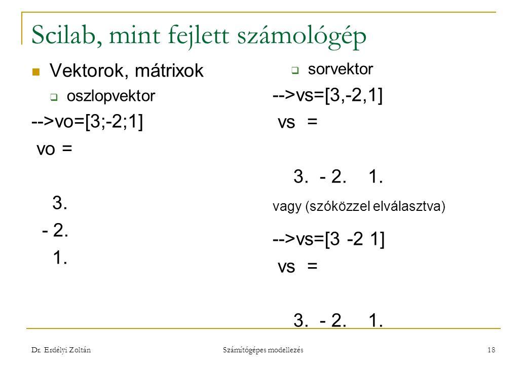 Scilab, mint fejlett számológép Vektorok, mátrixok  oszlopvektor -->vo=[3;-2;1] vo = 3. - 2. 1.  sorvektor -->vs=[3,-2,1] vs = 3. - 2. 1. vagy (szók