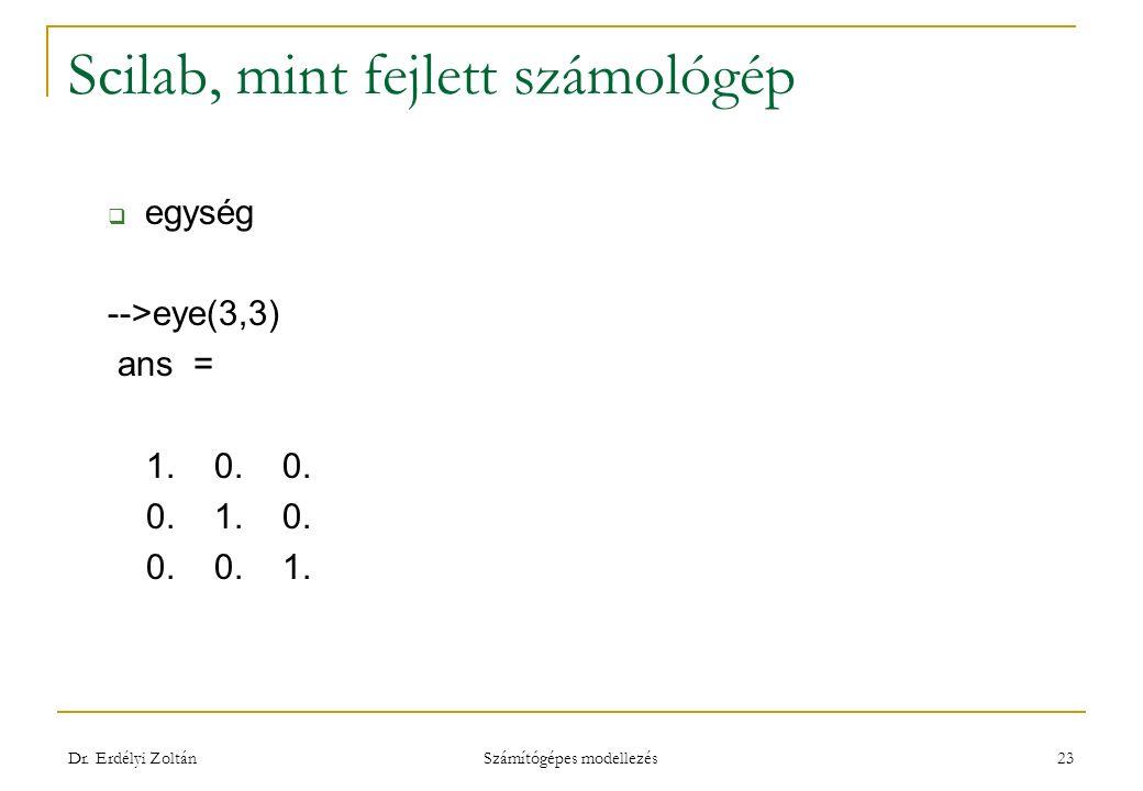Scilab, mint fejlett számológép  egység -->eye(3,3) ans = 1. 0. 0. 0. 1. 0. 0. 0. 1. Dr. Erdélyi Zoltán Számítógépes modellezés 23